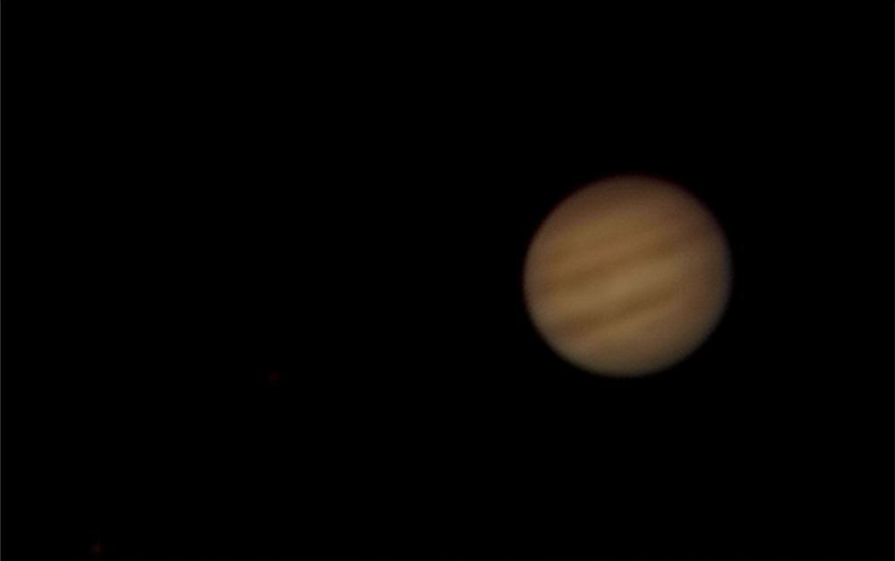Jupiter. Processed video. Slightly over naked-eye detail.