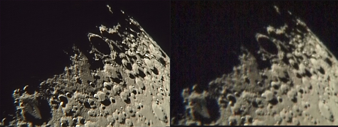 The Moon. Processed image and single video frame.